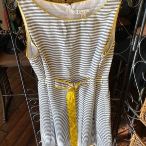 Gray and white dress with yellow piping